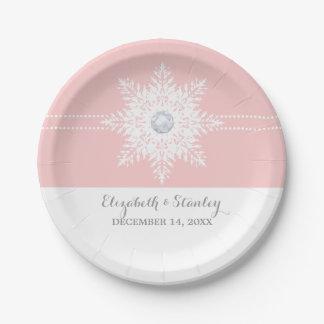 Rosa moderno del copo de nieve, boda blanco del plato de papel de 7 pulgadas