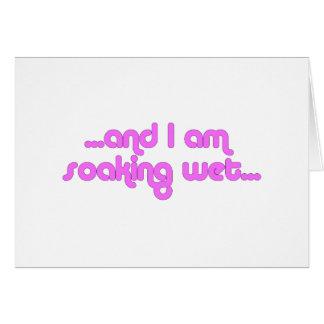 Rosa mojado de impregnación tarjeta de felicitación