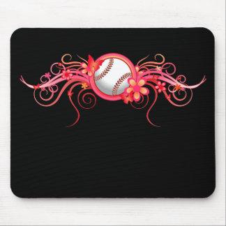 Rosa Mousepad de la flor de mariposa del béisbol/d