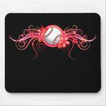 Rosa Mousepad de la flor de mariposa del béisbol/d Tapete De Raton