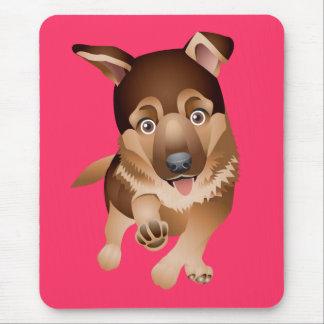 Rosa Mousepad del perro de perrito del pastor Tapete De Raton