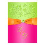 Rosa, naranja, invitación verde del boda del monog
