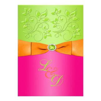 Rosa naranja invitación verde del boda del monog