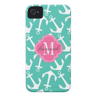 Rosa náutico femenino de la turquesa de las anclas iPhone 4 carcasas