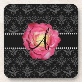 Rosa negro del damasco del monograma subió posavasos