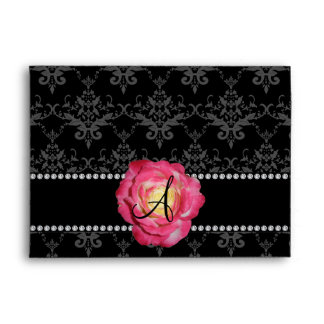 Rosa negro del damasco del monograma subió