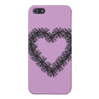 Rosa negro i del corazón de la margarita iPhone 5 cárcasas