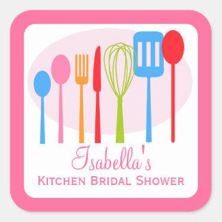 Rosa nupcial de la ducha el   de la cocina de los pegatina cuadrada