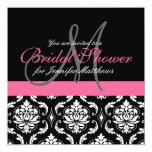 Rosa nupcial de las invitaciones del damasco del invitación 13,3 cm x 13,3cm