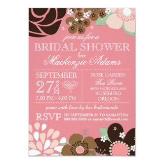 Rosa nupcial floral Brown de la ducha de la Invitación 11,4 X 15,8 Cm