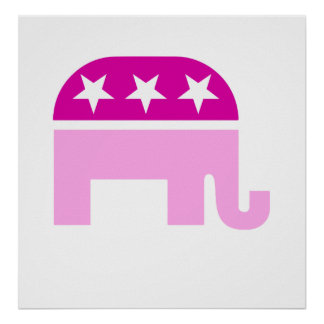 Rosa original republicano del elefante poster