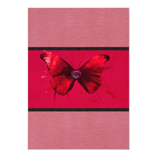 """Rosa oscuro con las invitaciones de la mariposa invitación 5"""" x 7"""""""