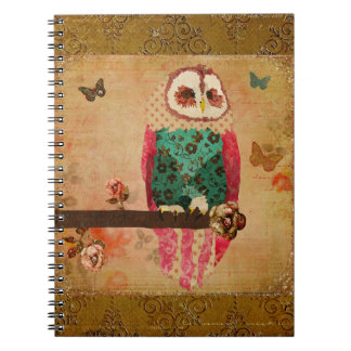 Rosa Owl Gold  Notebook