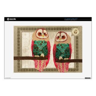 Rosa Owls Monogram Laptop Skin
