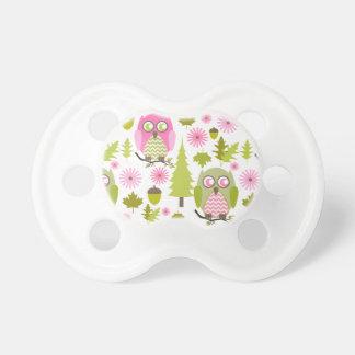 Rosa + Pacificador verde de los búhos de Chevron Chupete
