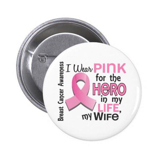 Rosa para el héroe en mi cáncer de pecho de la esp pin redondo 5 cm