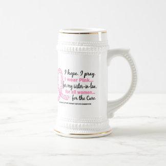 Rosa para mi cinta rosada afiligranada de la cuñad tazas de café
