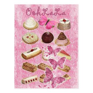 Rosa París del chocolate del vintage de la tentaci Postal