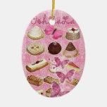 Rosa París del vintage de las galletas de la Adorno Navideño Ovalado De Cerámica