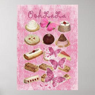 Rosa París del vintage de las galletas de la tenta Póster