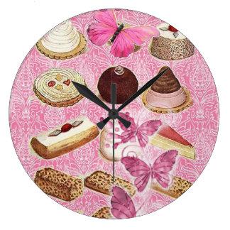 Rosa París del vintage de las galletas de la tenta Reloj Redondo Grande