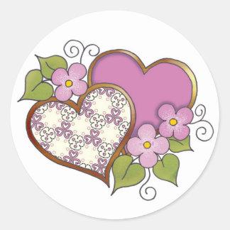 Rosa Pattern-018 y bonito Pegatina Redonda