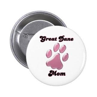 Rosa Pawprint - botón de la mamá de great dane Pin