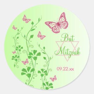 Rosa pegatina floral de Mitzvah del palo de las m
