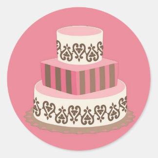 Rosa/pegatinas del favor del pastel de bodas de pegatina redonda