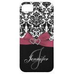 Rosa personalizado, caja adornada negra del damasc iPhone 5 Case-Mate cárcasa