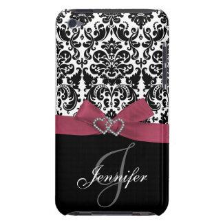 Rosa personalizado, caja adornada negra del damasc iPod Case-Mate cobertura
