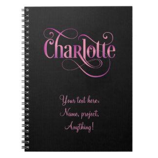 Rosa personalizado de Charlotte de la escritura de Cuadernos