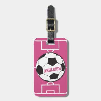 Rosa personalizado de la bola y del campo de etiquetas maleta