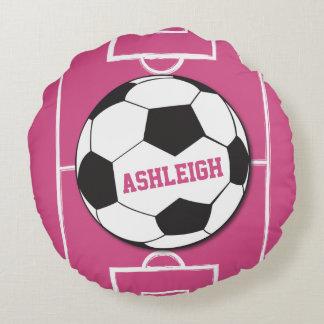 Rosa personalizado de la bola y del campo de cojín redondo