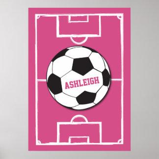 Rosa personalizado de la bola y del campo de póster