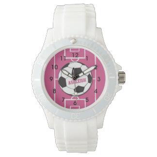 Rosa personalizado de la bola y del campo de reloj de mano