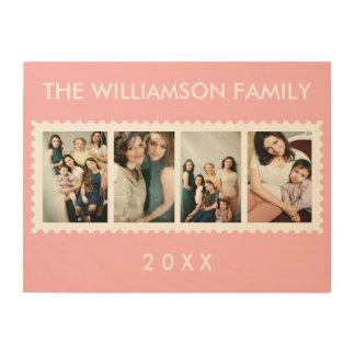Rosa personalizado de la foto de familia del marco impresiones en madera