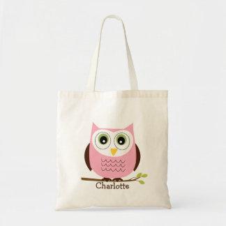 Rosa personalizado de los niños y la bolsa de asas
