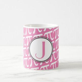 Rosa personalizado de los símbolos del monograma taza básica blanca