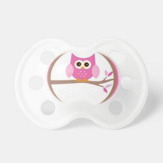 Rosa personalizado del búho chupete de bebe
