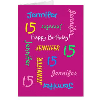 Rosa personalizado del cumpleaños del nombre de la tarjeta de felicitación