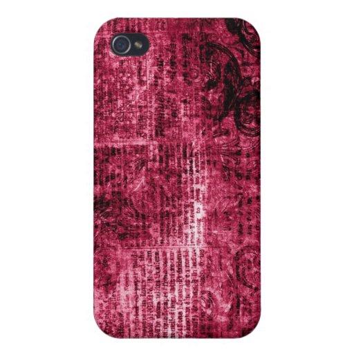 Rosa personalizado del damasco del vintage iPhone 4/4S fundas