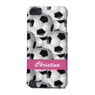 Rosa personalizado del modelo del balón de fútbol funda para iPod touch 5G