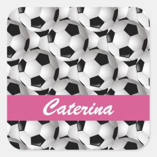 Rosa personalizado del modelo del balón de fútbol pegatina cuadrada
