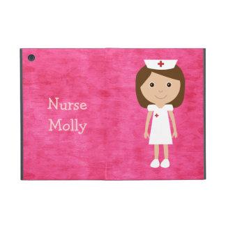 Rosa personalizado enfermera linda del dibujo anim iPad mini coberturas