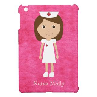Rosa personalizado enfermera linda del dibujo anim iPad mini cobertura