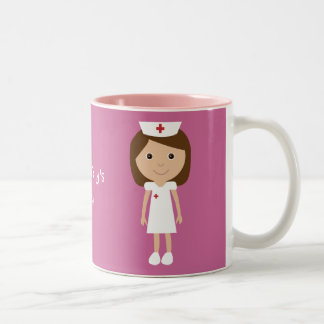 Rosa personalizado enfermera linda del dibujo anim taza dos tonos
