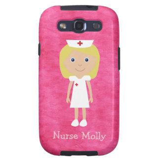 Rosa personalizado enfermera rubia linda del dibuj galaxy SIII coberturas