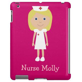 Rosa personalizado enfermera rubia linda del dibuj