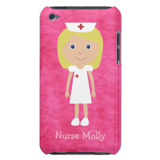 Rosa personalizado enfermera rubia linda del dibuj iPod touch carcasa